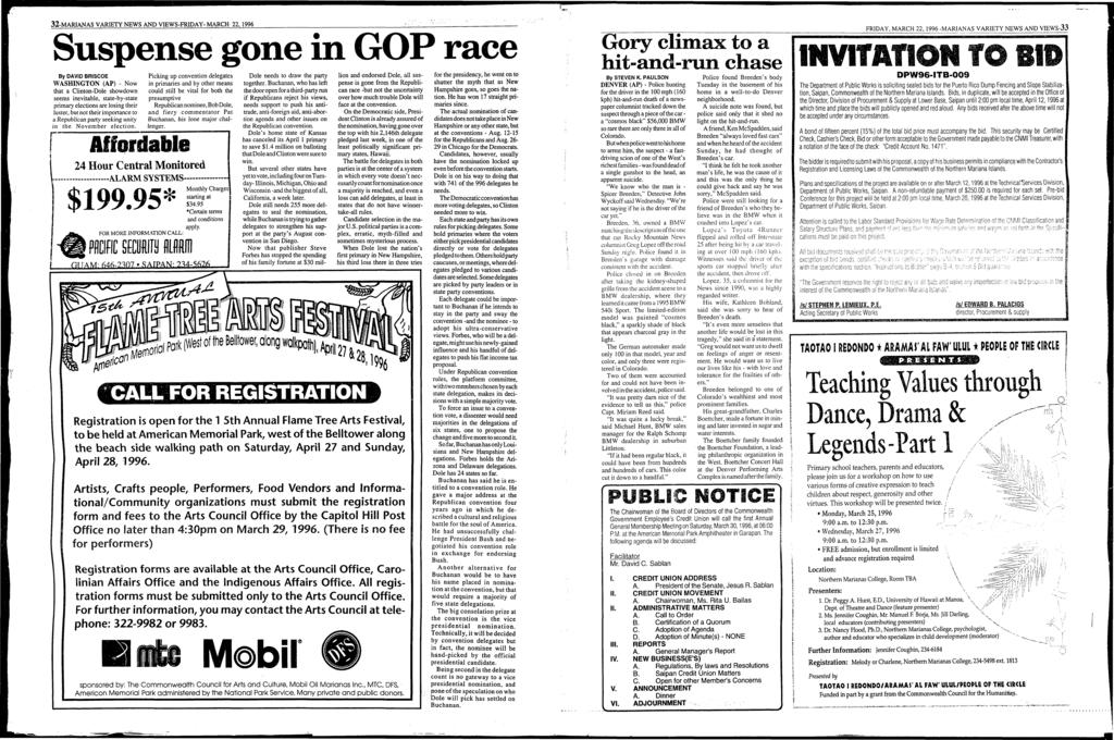 32-MARANAS VARETY NEWS AND VEWS-FRDAY MARCH 22, 1996 Suspense gone in GOP race By DAVD BRSCOE WASHNGTON (AP) - Now that a Clinton-Dole showdown seems inevitable, state-by-state primary elections are