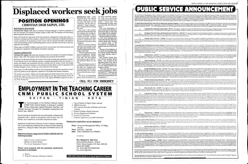 1.. 34-MARANAS VARETY NEWS AND VEWS-FRDAY - MARCH 22, 1996 Displaced workers seekjobs POSTON OPENNGS CHRSTAN DOR SAPAN, LTD.