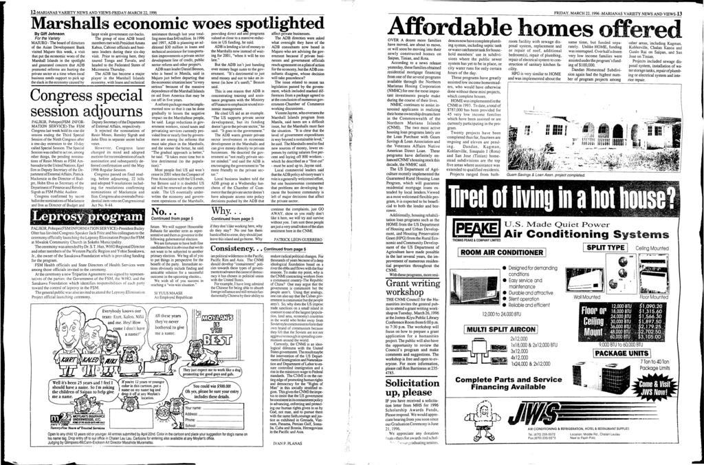 12-MARANAS VARETY NEWS AND VEWS-FRDAY-MARCH 22, 1996 Marshalls economic woes spotlighted By Giff Johnson large scale government cut-backs.