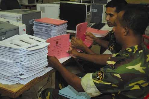 6 Elections in Bangladesh 2006-2009: Helping to return democracy to Bangladesh, the Bangladesh Army assists the PERP project to prepare voter lists for distribution to over 35,000 polling centers