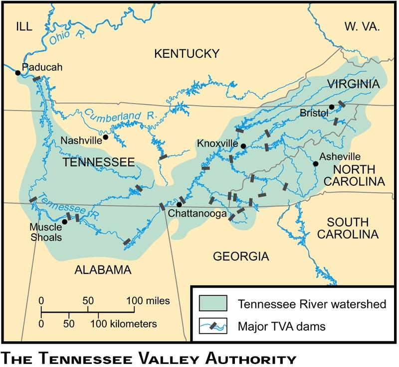 TENNESSEE VALLEY AUTHORITY I. The TVA provided employment to rural areas of the Tennessee Valley II.