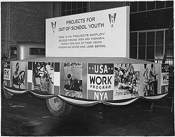 National Youth Administration (NYA): (June 1935) set up as part of the WPA to address the educational & employment needs of 16-24 year olds (who, because of their age, were not allowed to apply for